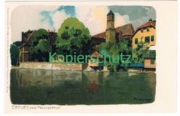 763 Marcks Alexander Erfurt Predigerhof Litho Künstlerkarte - Other Illustrators