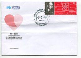 CENTENARIO DE LA 1RA TRANSFUSION INDIRECTA DE SANGRE EN EL MUNDO. ARGENTINA 2014 SOBRE PRIMER DIA, ENVELOPE FDC - LILHU - Medicina