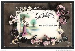 Souvenir De Tiège-Spa. Photo Montage. Jolies Femmes Et Fleurs. - Jalhay