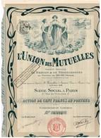 Ancien Titre - L'Union Des Mutuelles Société Anonyme De Gestion & De Réassurances - Titre De 1908 - Déco - Banque & Assurance