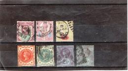GRANDE-BRETAGNE     1887-1900  Y.T. N° 91  à  105  Oblitéré  95  99  Perforés - 1840-1901 (Victoria)
