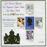 Lote 2340d, Nicaragua, 1999, HF, SS, Queen Mother, 100th Birthday, As Old Woman, Reina Isabel, Elizabeth II - Nicaragua