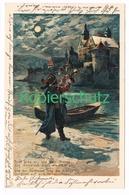 818 Fritz Bergen Liedkarte Schloss Trompeter Litho Künstlerkarte - Other Illustrators