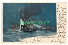 840 C. Schön Torpedoboot Nächtlicher Angriff Litho Künstlerkarte - Other Illustrators