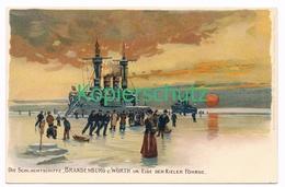 841 C. Schön Schlachtschiffe Brandenburg Wörth Litho Künstlerkarte - Illustrateurs & Photographes