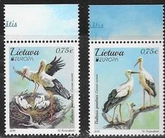 LITHUANIA, 2019, MNH, EUROPA, BIRDS, STORKS, 2v - 2019