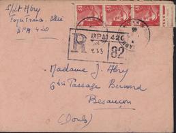 Guerre 39 45 YT 716 3x Marianne Gandon Recommandée Provisoire BPM 420 Allemagne CAD Poste Aux Armées 420 1946 Censure - WW II