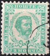 MONTENEGRO, PRINCIPE NICHOLAS I, 1898, 2 N., FRANCOBOLLO USATO Mi. 34A,   Scott 33,  YT 42 - Montenegro