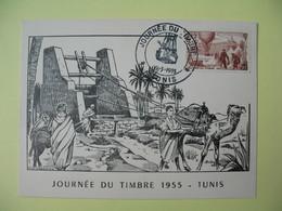 Carte-Maximum 1955 Journée Du Timbre Cachet Tunis - Tunisia (1888-1955)