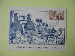 Carte-Maximum 1955 Journée Du Timbre Cachet SFAX La Poste Par Ballon - Tunisia (1888-1955)