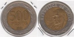Cile 500 Pesos 2001 Bimetallica KM#235 - Used - Cile