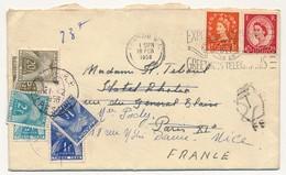 Enveloppe Depuis GB Taxée à Paris (20F + 2F + 1F Type Gerbes), Annulée, Puis Taxée à Nouveau à Nice - 1958 - Taxes