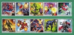 GB GREAT BRITAIN 2019 - MARVEL HEROES Comics 10v MNH ** Se-Tenant - Spider-man, Captain, Hulk, Thor, Iron-Man - As Scan - Comics