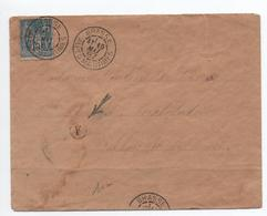 1887 - ENVELOPPE De GRASSE (ALPES MARITIMES) Avec SAGE -> BOITE RURALE F (NON IDENTIFIEE) - Marcofilia (sobres)