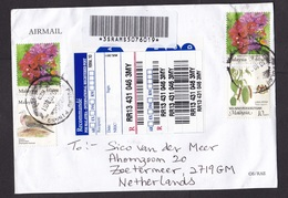 Malaysia: Registered Airmail Cover To Netherlands, 2011, 4 Stamps, Flowers, Pigeon Bird, R-label (minor Creases) - Maleisië (1964-...)