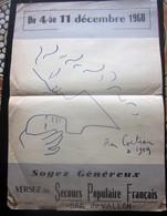 AFFICHE SIGNEE JEAN COCTEAU 1959 DOCUMENT HISTORIQUE 4-11-Déc-1960 Soyez Généreux Versez Secours Populaire Bar Du Vallon - Historische Dokumente