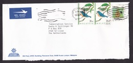 Malaysia: Airmail Cover To Netherlands, 1997, 3 Stamps, Pineapple Fruit, Bird, Air Label (minor Damage) - Maleisië (1964-...)