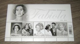 België 4485/89**  Hommage à S.M. La Reine Fabiola / Blok 223 MNH Herdenking H.M.KONINGIN FABIOLA - Panes