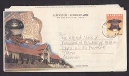 Malaysia: Stationery Aerogramme To Albania, 2004, Heritage, History, City Skyline, Rare Real Use (traces Of Use) - Malaysia (1964-...)