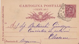 INTERO POSTALE CENT. 10 - MILANO - VIAGGIATA PER CLUSONE ( BERGAMO) - 1878-00 Humbert I