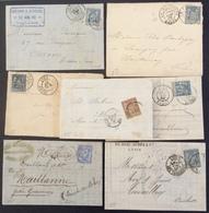 35 Rhône Tarare + La Mulatière + Cours + Lyon-Perrache + Lyon + Les Terreaux Sage 30c Et 25c Et 15c - 1877-1920: Semi Modern Period