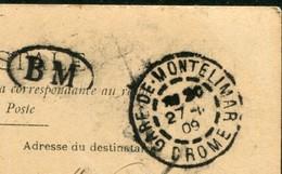 MARQUE POSTALE BM BOITE MOBILE - CAD GARE DE MONTELIMAR DROME SUR CPA - Postmark Collection (Covers)