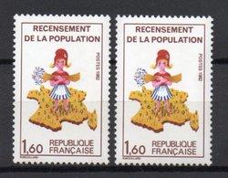 - FRANCE Variété N° 2204f ** - 1 F. 60 Recensement Population 1982 - REENTRY DU VERT - Cote 35 EUR - - Variétés Et Curiosités