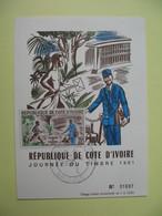 Carte-Maximum 1961  République Côte D'Ivoire Journée Du Timbre  Cachet Abidjan N° 01697 - Costa D'Avorio (1960-...)
