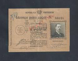 PORTUGAL LICENÇA PARA CAÇAR PERMIS DE CHASSE LISBOA 1941 : - Cartes