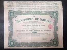 Lot 4 Transports De SAVONE-Bruxelles Obligation 500 FR + Coupons - Actions & Titres