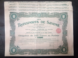 Lot 4 Transports De SAVONE-Bruxelles Obligation 500 FR + Coupons - Shareholdings