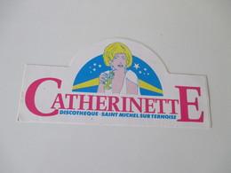 Autocollant Vintage Discothèque Catherinette Saint Michel Sur Ternoise 15 Cm /7,5 Cm - Aufkleber