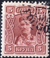 MONTENEGRO, PRINCIPE NICHOLAS I, 1907, 5 Kr., FRANCOBOLLO USATO Mi. 72  Scott 86, YT 87 - Montenegro