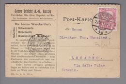 """Oesterreich 1910-09-24 Aussig Postkarte Mit Perfinmarke """"GS/AG"""" Nach Locarno - 1850-1918 Empire"""