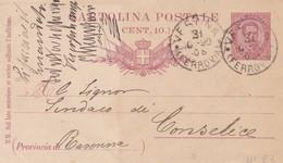 INTERO POSTALE CENT. 10 - VERONA - VIAGGIATA  PER CONSELICE ( RAVENNA) - 1878-00 Humbert I