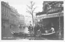 "PARIS  - INONDATIONS ( Crue ) 1910 - Rue De Lyon ( Céfé Restaurant Brasserie "" GRUBER & CIE "" En 1er Plan ) CPA - Seine - Inondations De 1910"