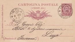 INTERO POSTALE CENT. 10 - IMOLA ( BOLOGNA) - VIAGGIATA  PER LUGO ( RAVENNA ) - 1878-00 Humbert I