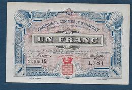 Chambre De Commerce D' Annonay - 1 Fr - 1917  ( Pirot N° 12 ) - Chambre De Commerce