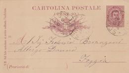 INTERO POSTALE CENT. 10 - SESTO CALENDE ( VARESE) - VIAGGIATA  PER FOGGIA - 1878-00 Humbert I