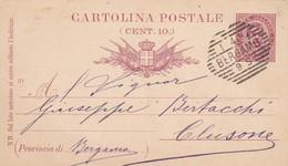 INTERO POSTALE CENT. 10 - BERGAMO - VIAGGIATA  PER CLUSONE( BERGAMO - 1878-00 Humbert I
