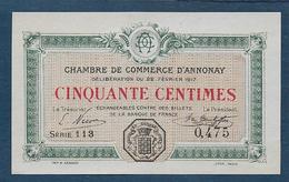Chambre De Commerce D' Annonay - 50 C - 1917  ( Pirot N° 9 ) - Chambre De Commerce