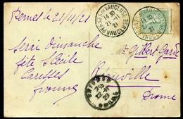 CAD COURONNE SIMPLE - PERNES DE VAUCLUSE - SUR CPA AVIGNON - Marcophilie (Lettres)