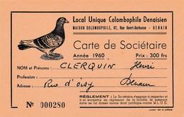DENAIN MAISON COLOMBOPHILE DENAISIEN 1960 AVEC UN PIEGON VOYAGEURDOC PUB BIERE DUBOIS VAAST DIM 135 X 85 MM - Denain