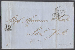 PHILIPPINES. 1862 (6 Oct). Manila - USA, NYC. EL Full Text Inside Endorsed Via China On Front Liverpool. UK 20 Nov 1862 - Filipinas