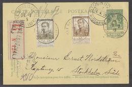 Belgium - XX. 1915 (29 March). Ste Adresse - Sweden, Stockholm (12 April). Reg 5c Green Stat Card 2 Adtls Cancelled At L - Belgium
