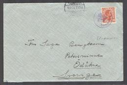 DENMARK. 1926 (Aug). Strommen - Sweden, Odaha. Fkd Env 20ore Lilac Cachet (small Origin Po). V Nice Item. - Danemark