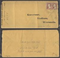 USA - Inland. 1859 (18 April). Black River Falls, Wis - Madison. Legal Cover From Jackson Co Fkd Sc US 25 Pair (Sc Cat $ - Etats-Unis