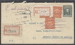 BOLIVIA. 1924 (June). La Paz - Sucre - USA, Conn (1 July). Reg 5c Green Stat Env 3 Adtl Mms Pend Cancelled R-labels. Sca - Bolivien