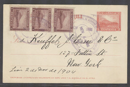 NICARAGUA. 1904 (4 Nov). Leon - Corinto - USA, NYC. 2c Rec Stat Card 3 Adtls. Fine Used. - Nicaragua