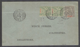 FRC - Madagascar. 1913 (7 Feb). Moheli. Tananarive - UK. Mixed Issues Mutifkd Env 25c Rate Authorized Period. VF Item. - France (former Colonies & Protectorates)